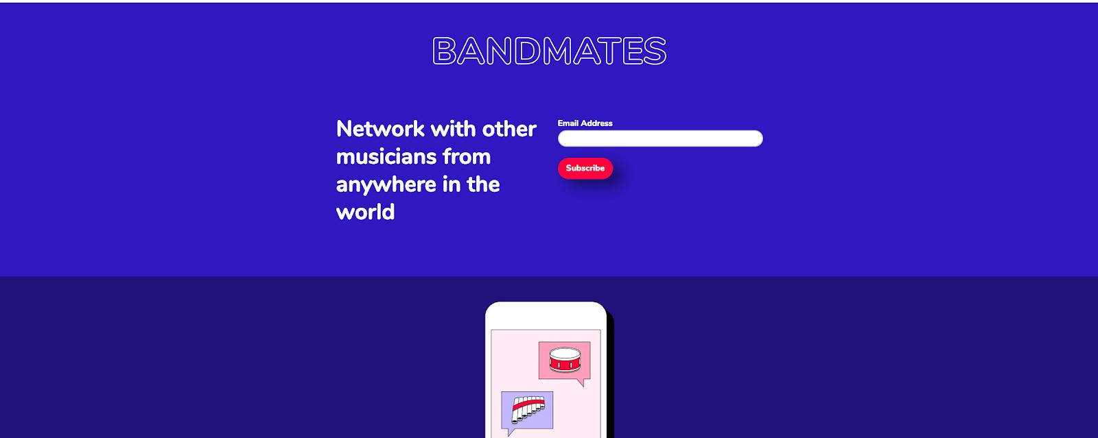 "Bandmates Landing Page from Mailchimp ""width ="" 598 ""style ="" width: 598px; blocco di visualizzazione; margine: 0px auto;"