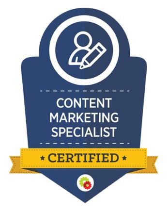 Logo DigitalMarketer Content Marketing Certification come esempio di marketing