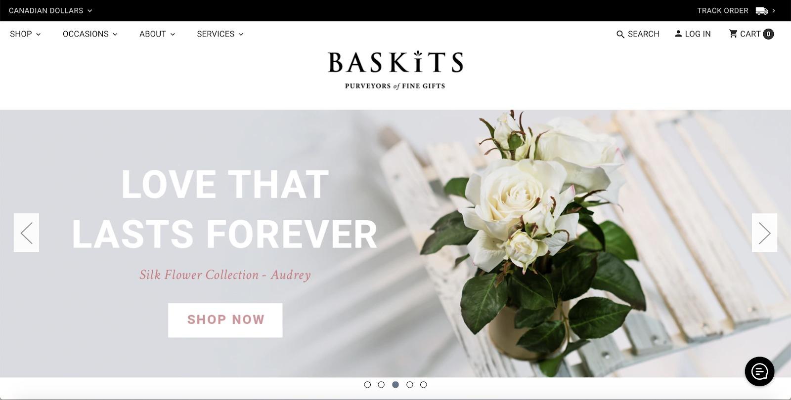 esempio di negozio di baskits