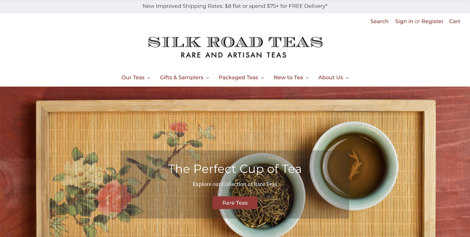 esempio di negozio di tè da strada in seta