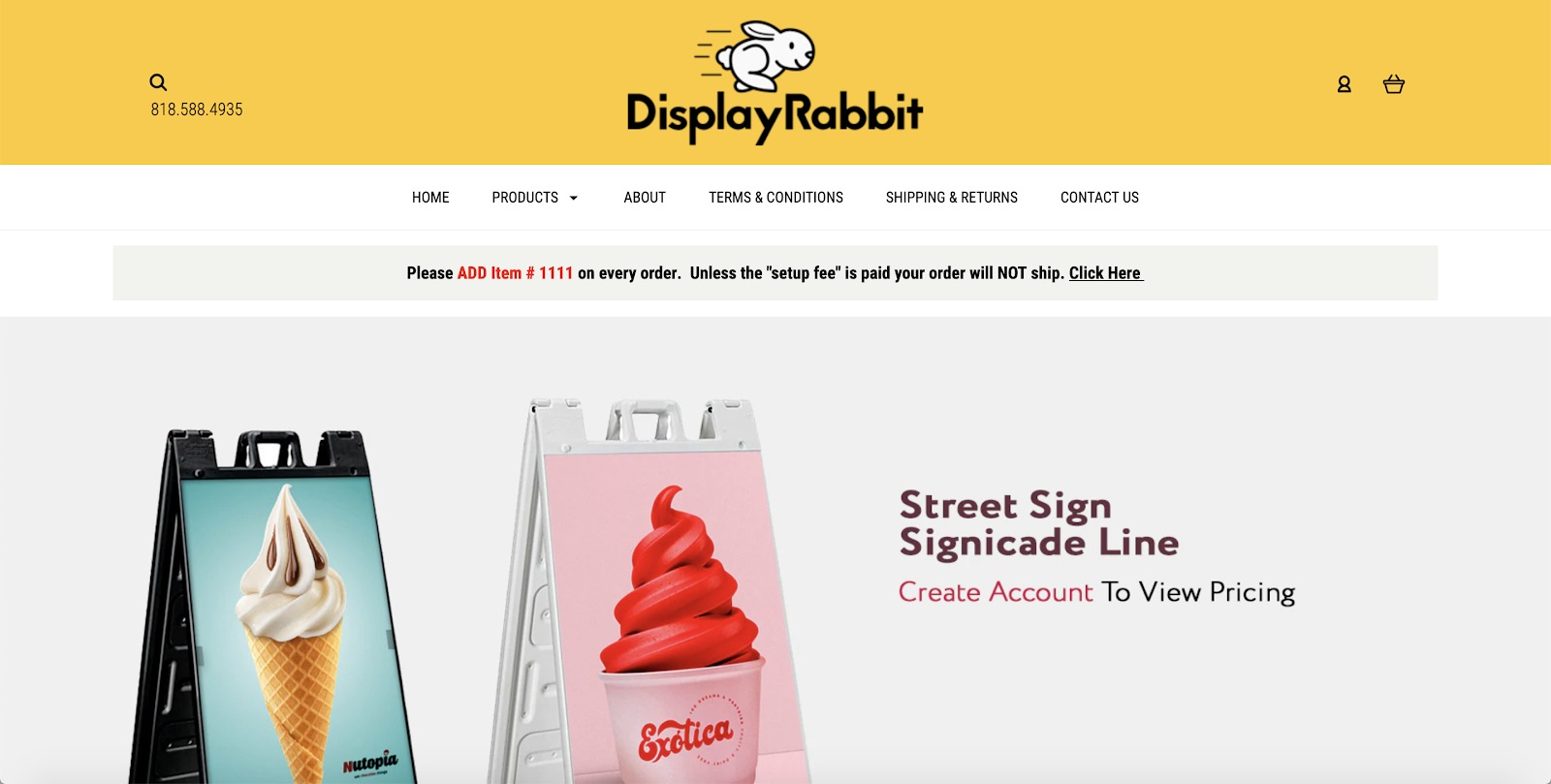 mostra un esempio di negozio di conigli