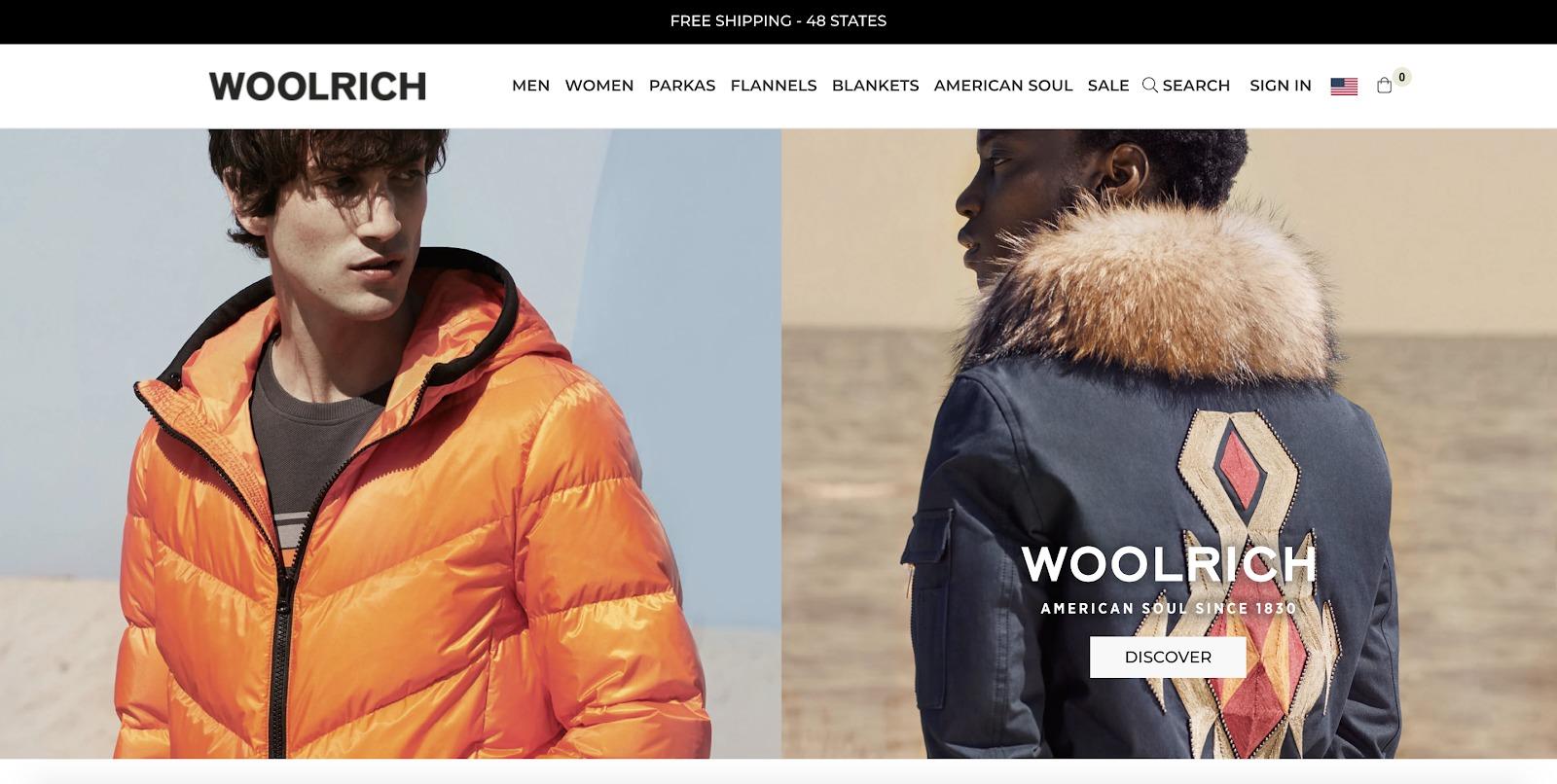 esempio di negozio woolrich