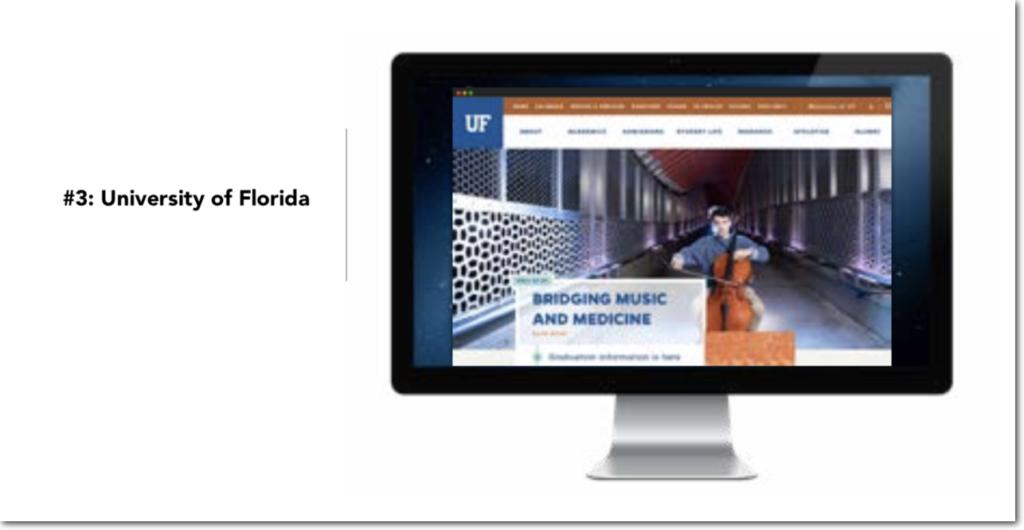 Migliori esempi di siti web universitari: Università della Florida