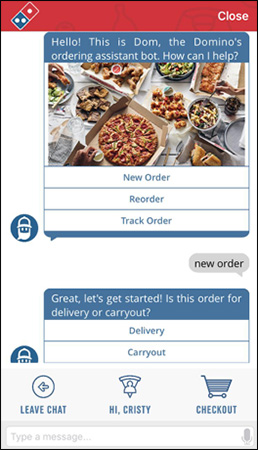 Dominos Chatbot per l'ordine