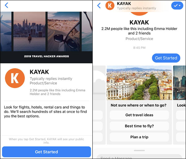 Chatbot Kayak per prenotare voli