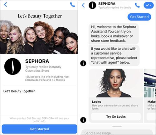 Sephora Chatbots in cui è possibile ordinare il trucco