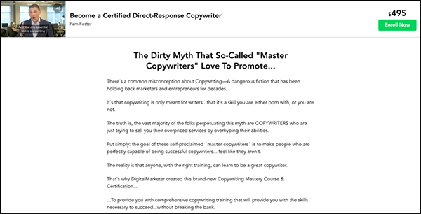 La pagina di destinazione Cert per il copywriting di DigitalMarketer