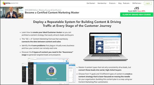Esempio di copywriting da una pagina di destinazione di DigitalMarketer