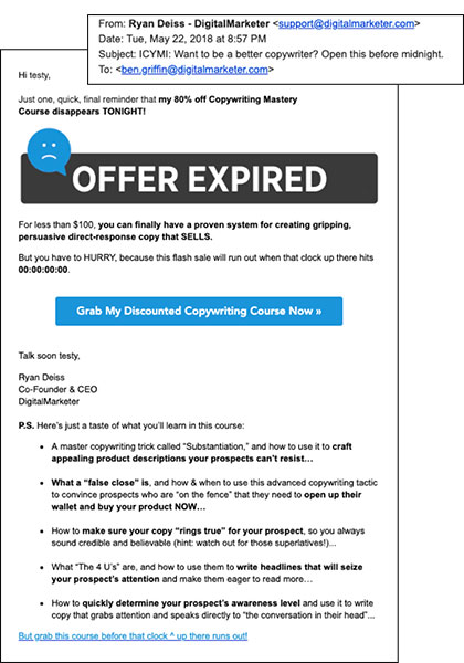 Un'e-mail DM con copywriting killer