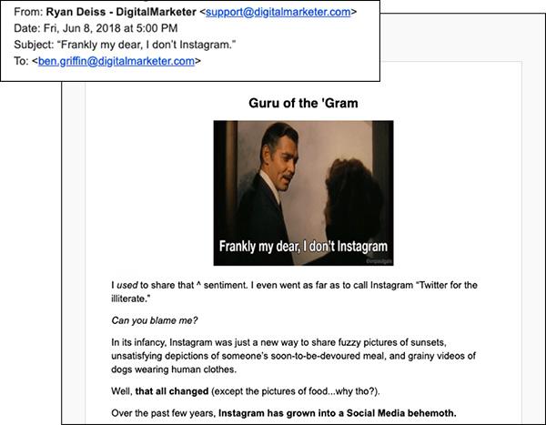 Un'altra email DM con un fantastico copywriting