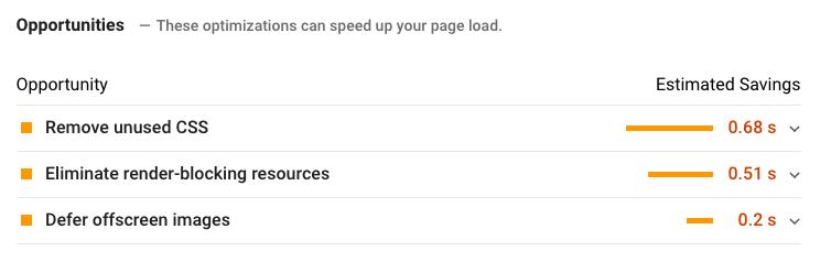 """suggerimenti di opportunità su Google PageSpeed Insights """"width ="""" 600 """"style ="""" width: 600px; blocco di visualizzazione; margine: 0px auto;"""