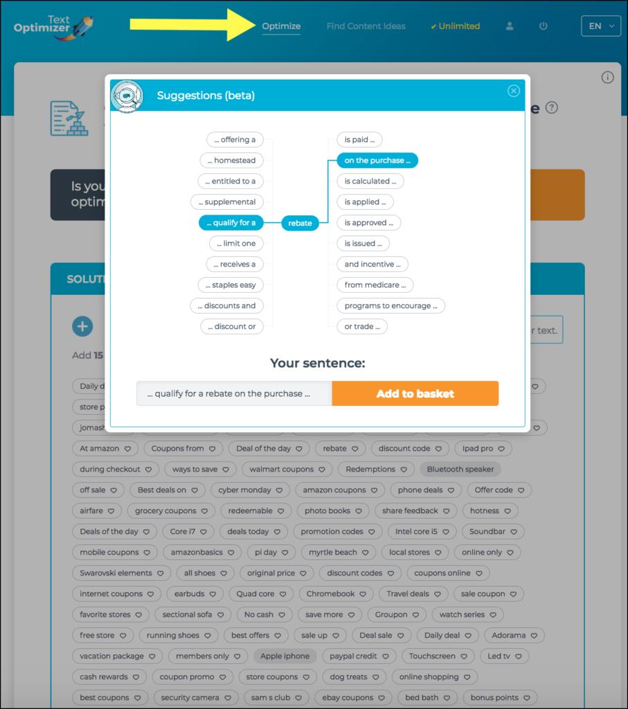 Textoptimizer Optimize