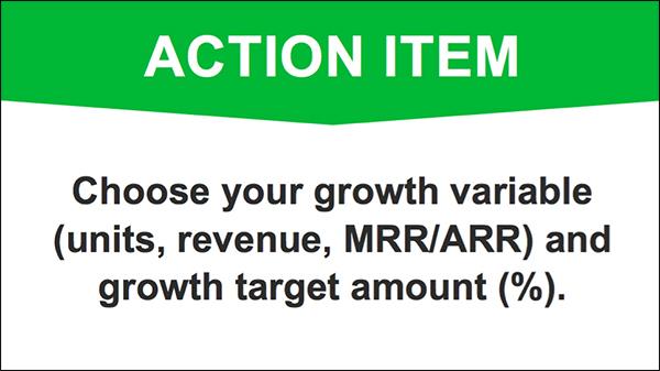Scegli la variabile di crescita e l'importo target di crescita per la tua attività
