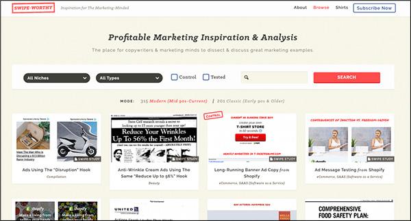 Strumento di marketing dei contenuti Swiped.co