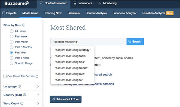 Strumento per il marketing dei contenuti BuzzSumo