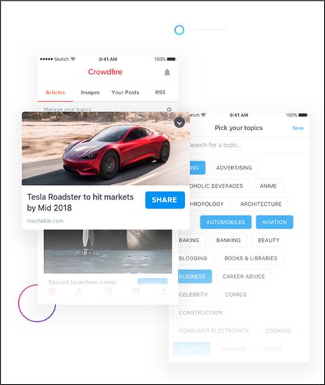Strumento di marketing dei contenuti Crowdfire