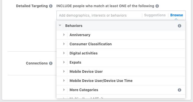 Targeting per comportamento degli annunci video di Facebook