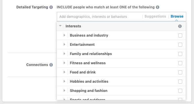 Targeting per interesse per annunci video di Facebook