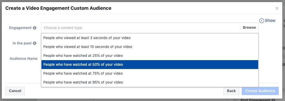 Coinvolgimento di video di annunci video di Facebook