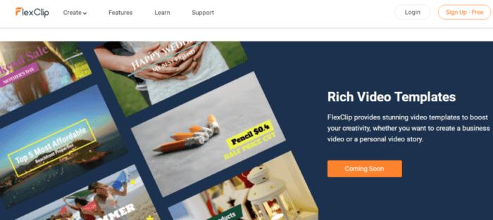 FlexClip modelli di video ricchi