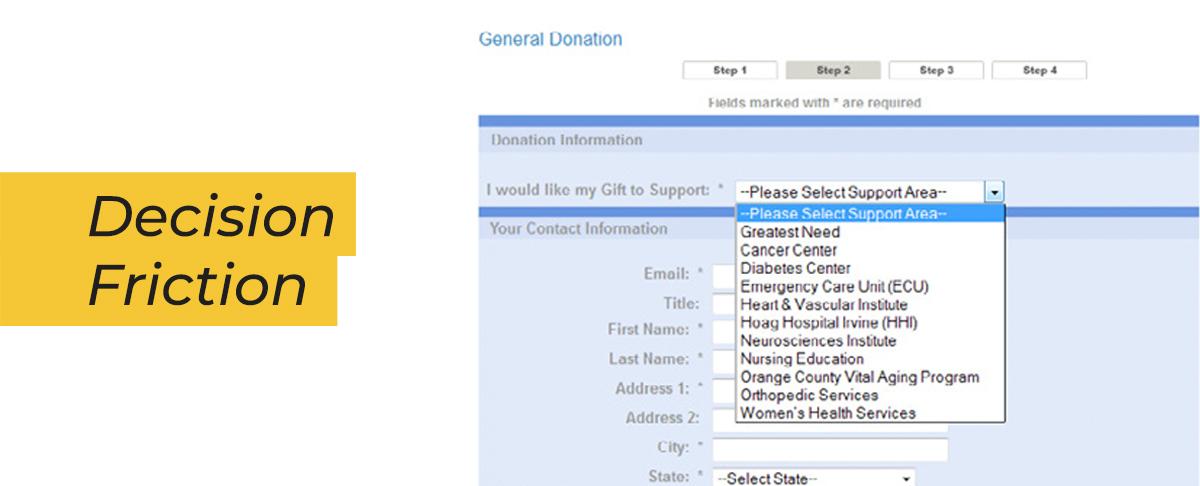 esempio di numero schiacciante di scelte per la designazione del dono in forma di donazione.