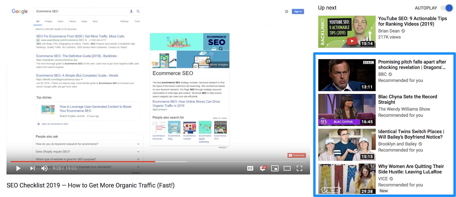 video consigliati da YouTube.