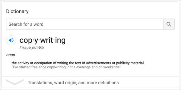 Definizione di copywriting dalla ricerca di Google