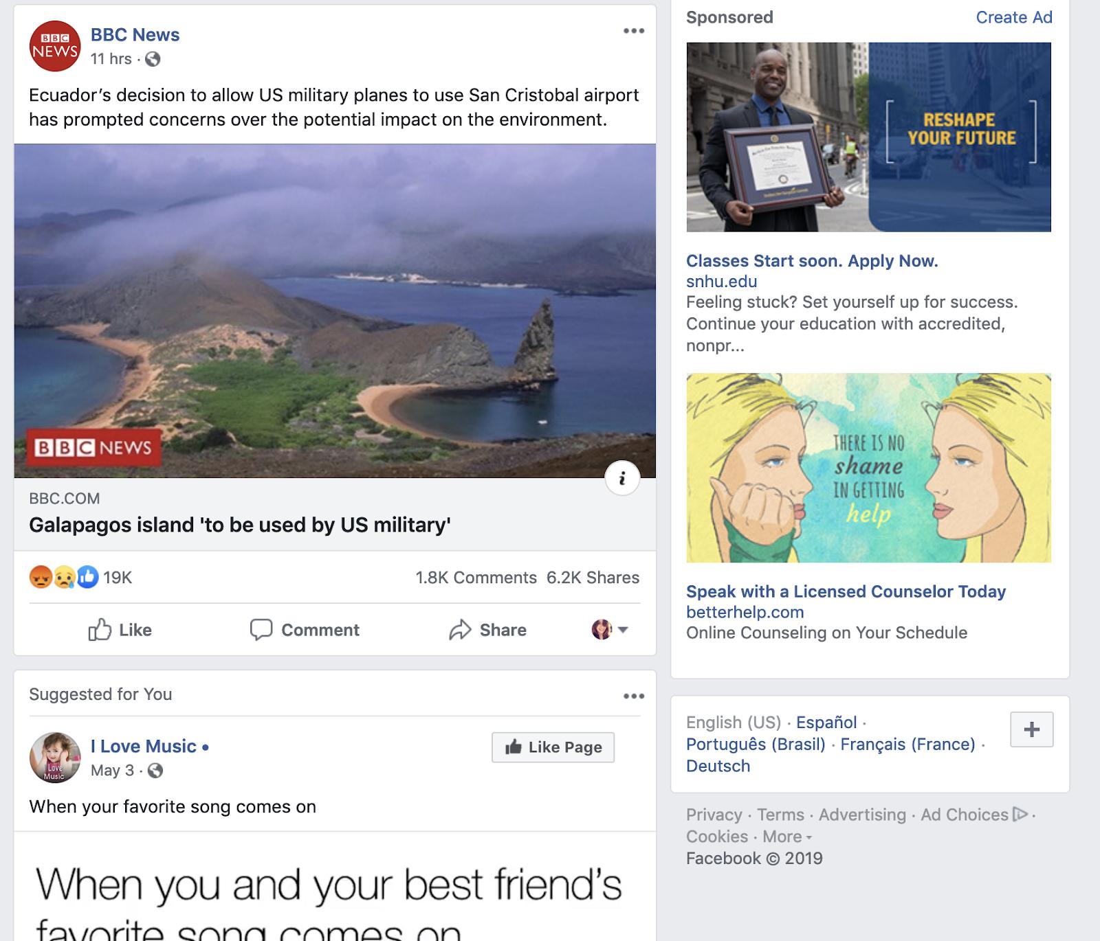 Feed di notizie di Facebook
