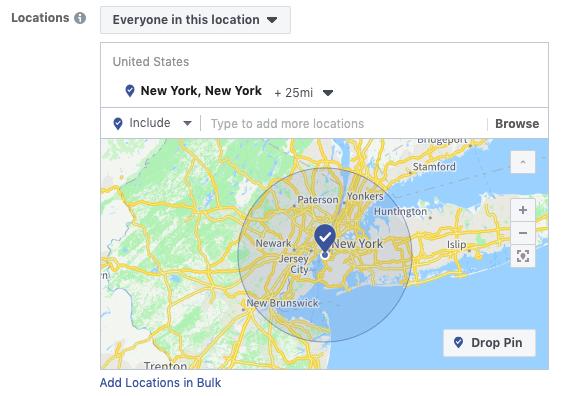 Targeting per località degli annunci video di Facebook