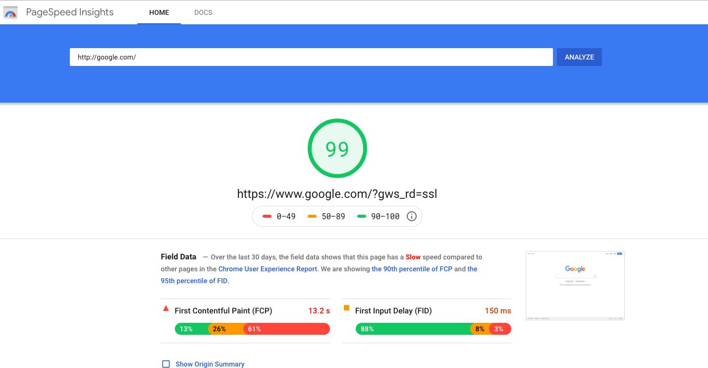"""Il punteggio di Google.com al 99% su Google PageSpeed Insights. """"Width ="""" 600 """"style ="""" width: 600px; blocco di visualizzazione; margine: 0px auto;"""