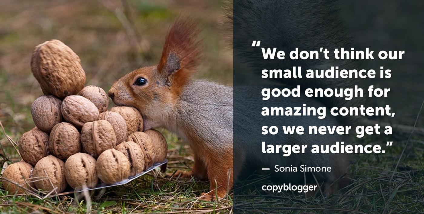 Non pensiamo che il nostro piccolo pubblico sia abbastanza buono per contenuti sorprendenti, quindi non abbiamo mai un pubblico più ampio. - Sonia Simone