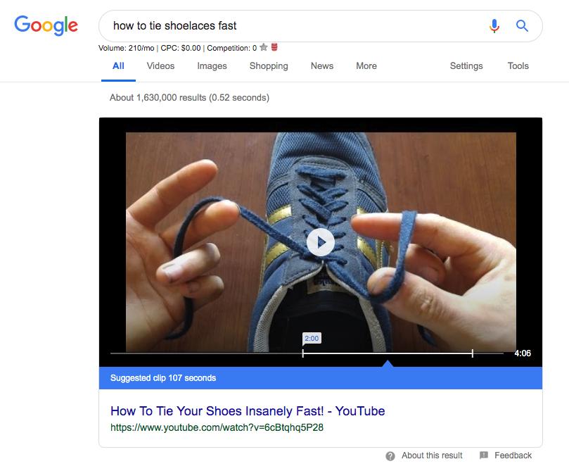 esempio di snippet in primo piano di YouTube.