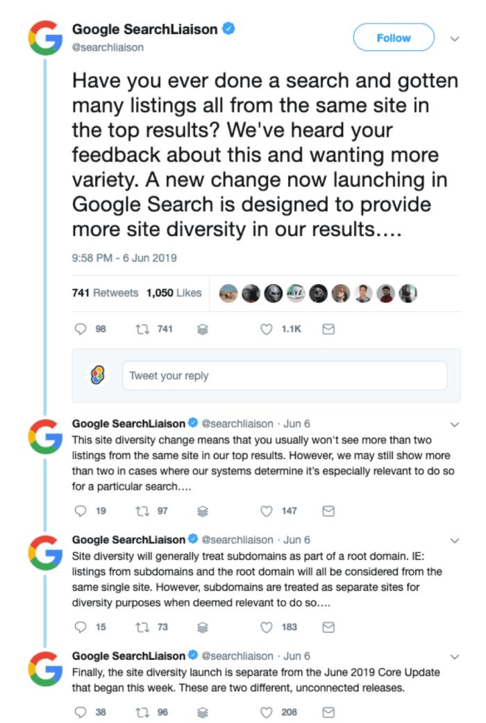 Tweet di ricerca di Google tweet