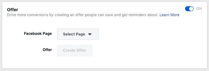 Impostazione annunci offerta di Facebook