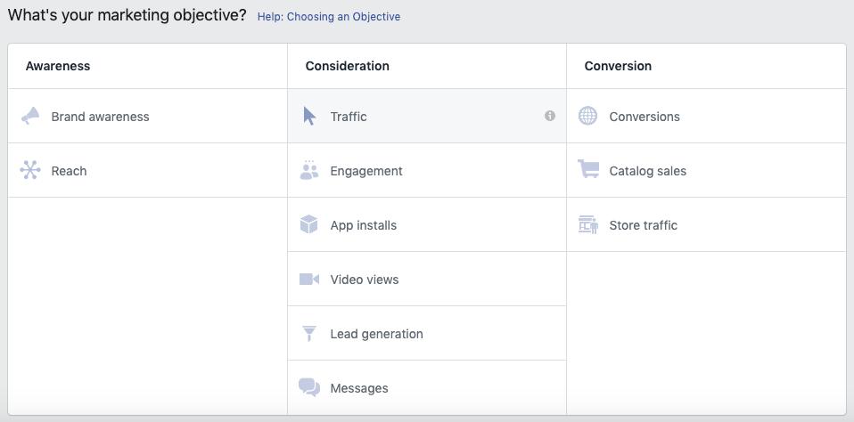 Annunci di offerte Facebook - Aggiunta di un obiettivo