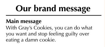 Messaggio del marchio dei biscotti di Gray