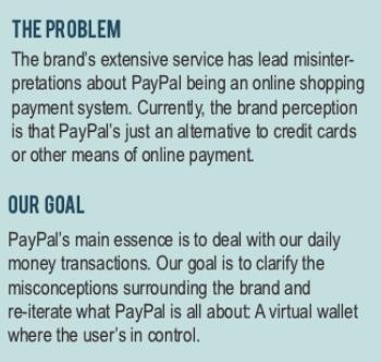 Esempio di prova di PayPal che mostra il problema e l'obiettivo