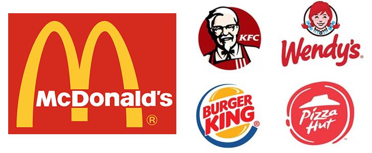 loghi rossi fast food che suggeriscono la fame.
