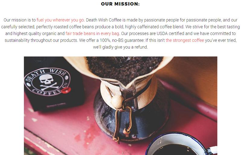 la morte vuole il caffè con il passo etico del marchio.