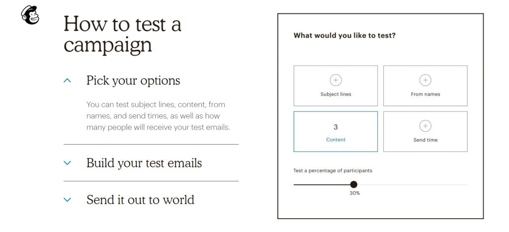 esempio di mailchimp di opzioni di test della posta elettronica.