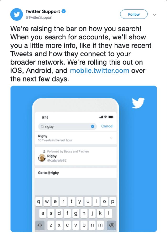 Aggiornamento della ricerca su Twitter