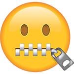 emoji della bocca della chiusura lampo