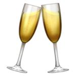 emoji clink di vetro di champagne