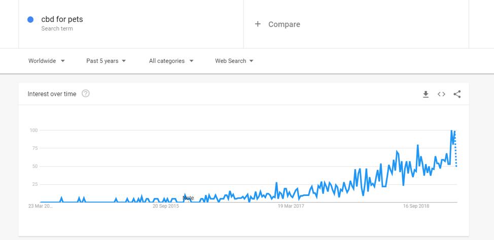 CBD per gli animali domestici dati trend di Google