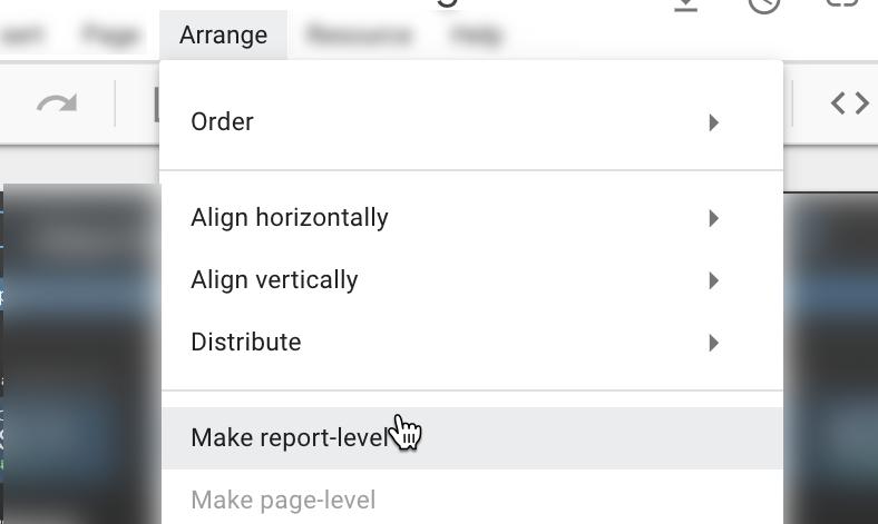 apportare modifiche a livello di report in google data studio.
