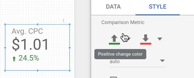scegliendo il colore della freccia di cambiamento nello studio dei dati.