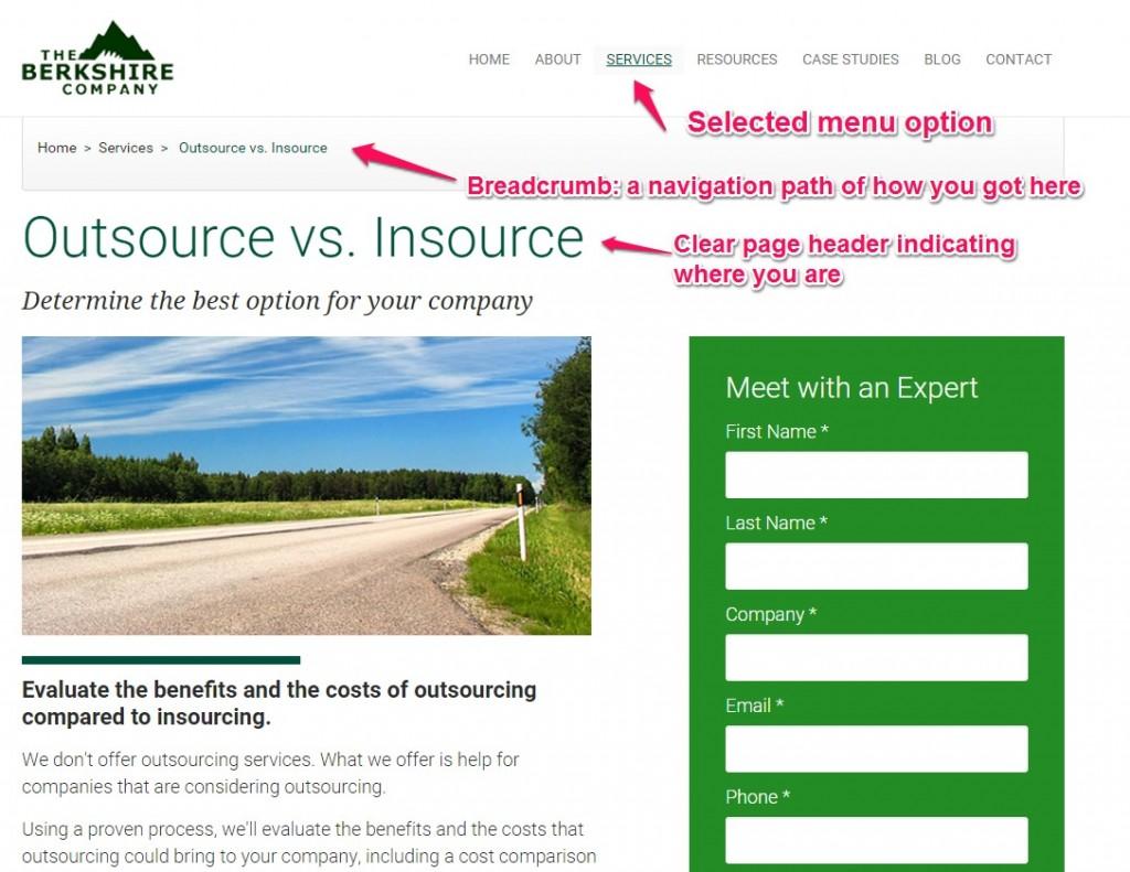 esempio di progettazione di siti Web b2b che mostra agli utenti dove si trovano sul sito.
