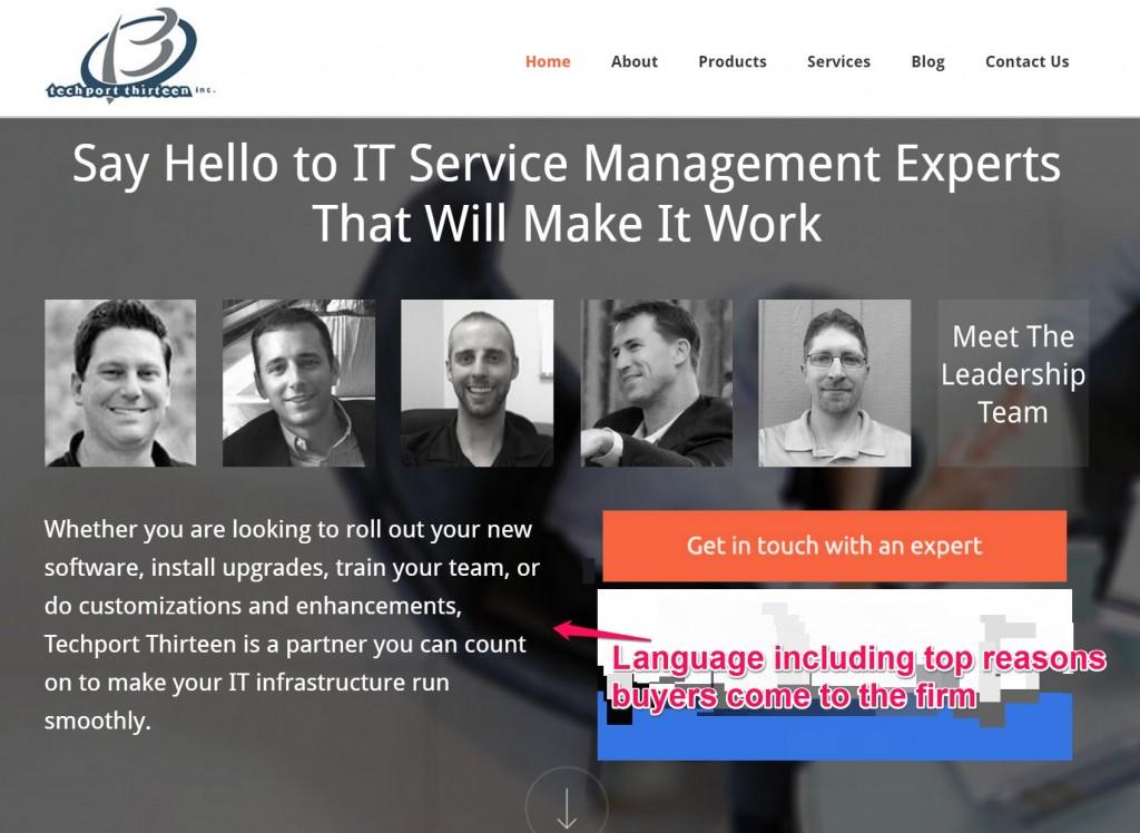 esempio di homepage senza gergo sul sito b2b.