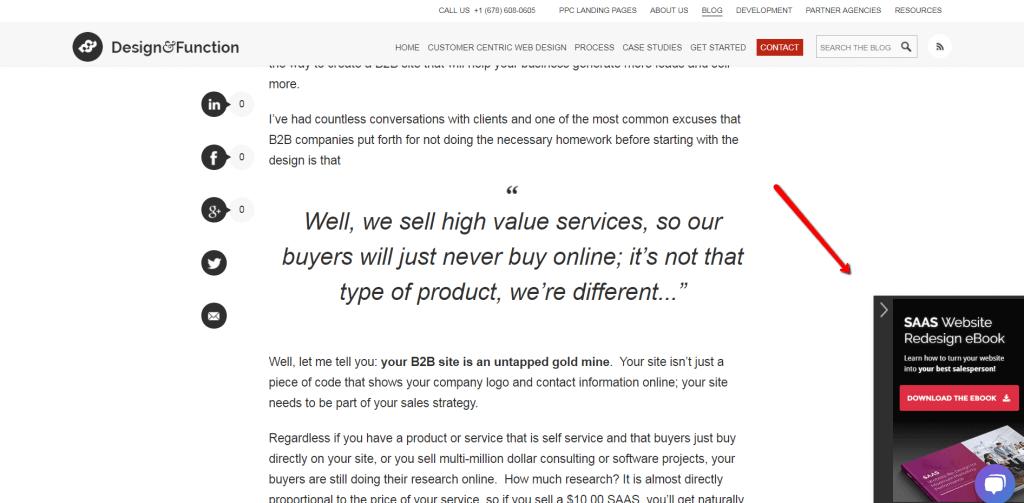 esempio di pop-up non ostruttivo sul sito b2b.