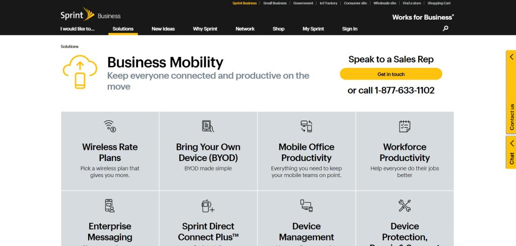 sito web aziendale sprint con un design di navigazione coerente e stratificato.